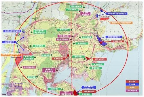 국가혁신융복합단지(문현혁신지구) 중심 반경 10㎞ 이내