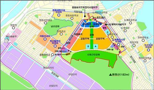 창원 육군 39사단 개발계획도.