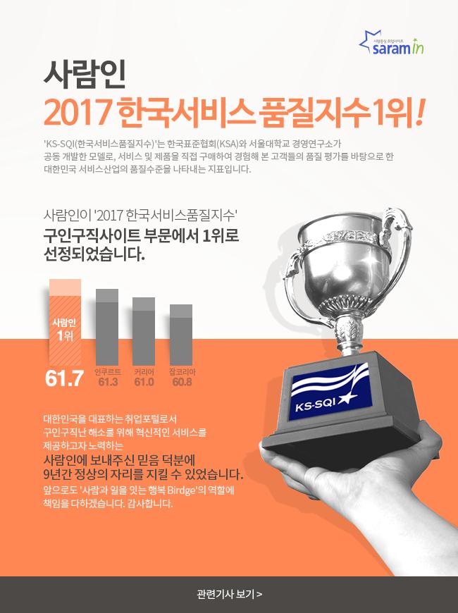 사람인 2017 한국서비스품질지수1위