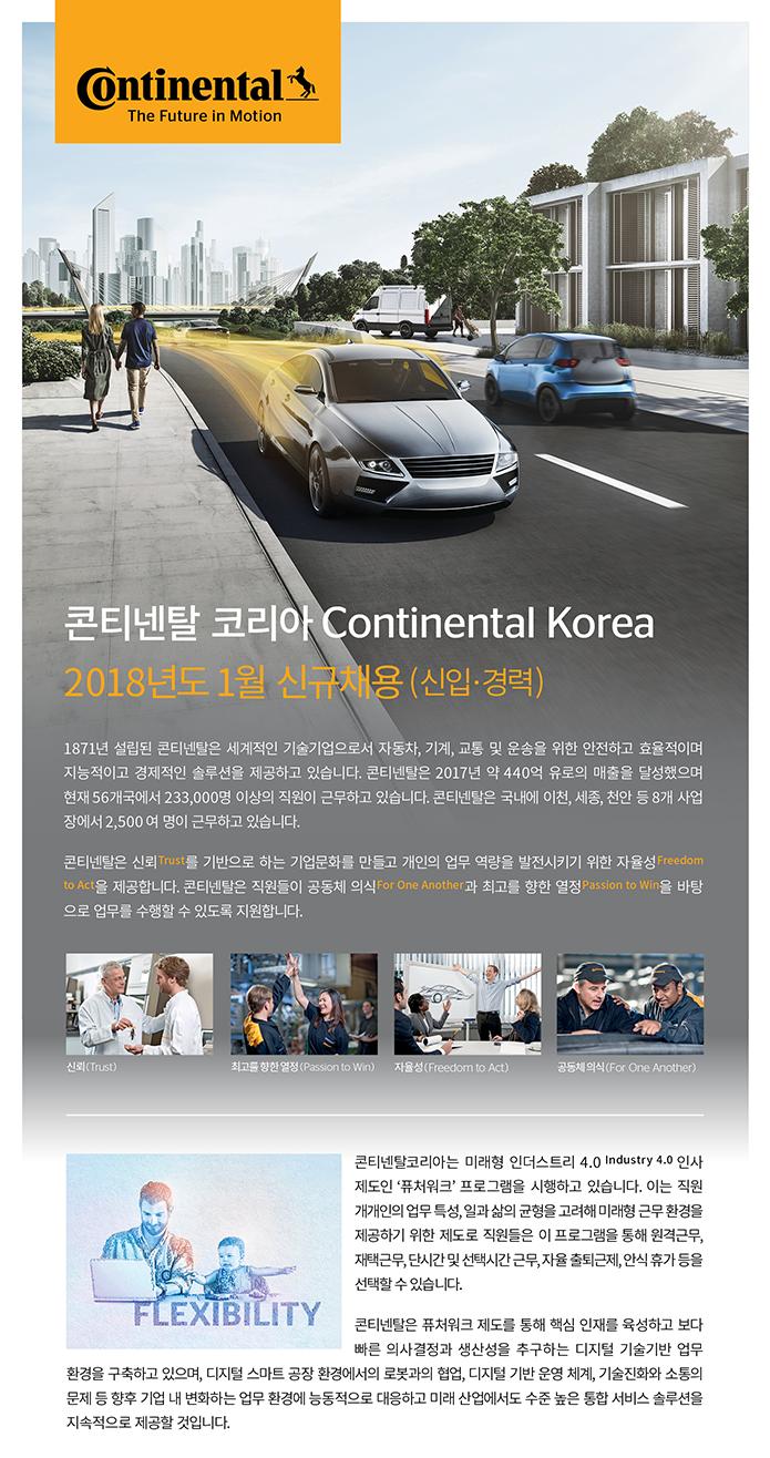 콘티넨탈 코리아 (Continental Korea) 2018년도 3월 공개채용 (신입ㆍ경력)