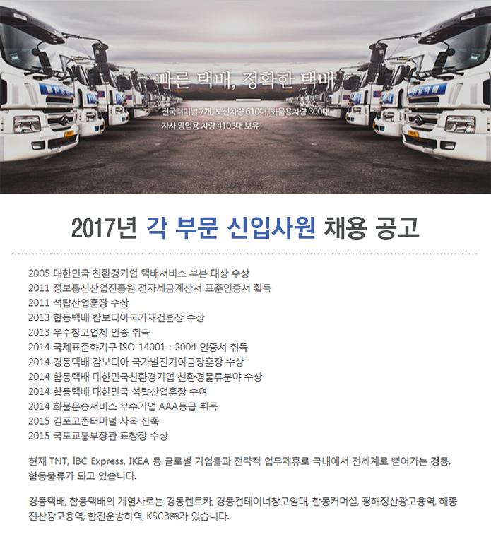 2017년 각 부문 신입사원 채용 공고