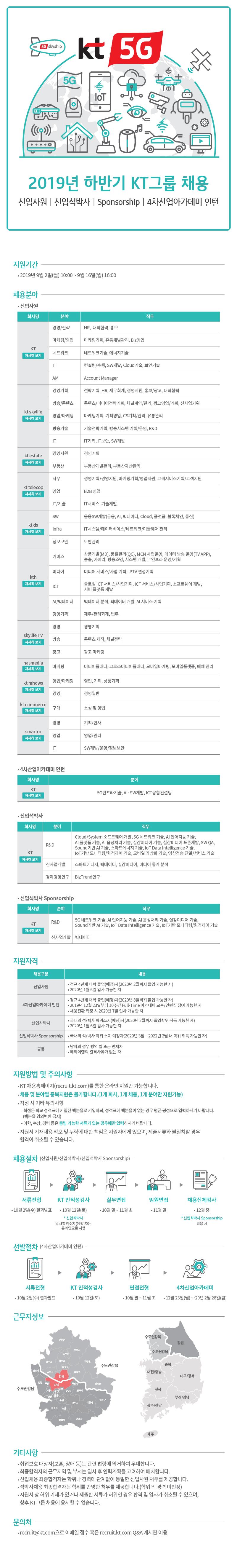 ㈜KT 2019년 하반기 KT그룹 채용