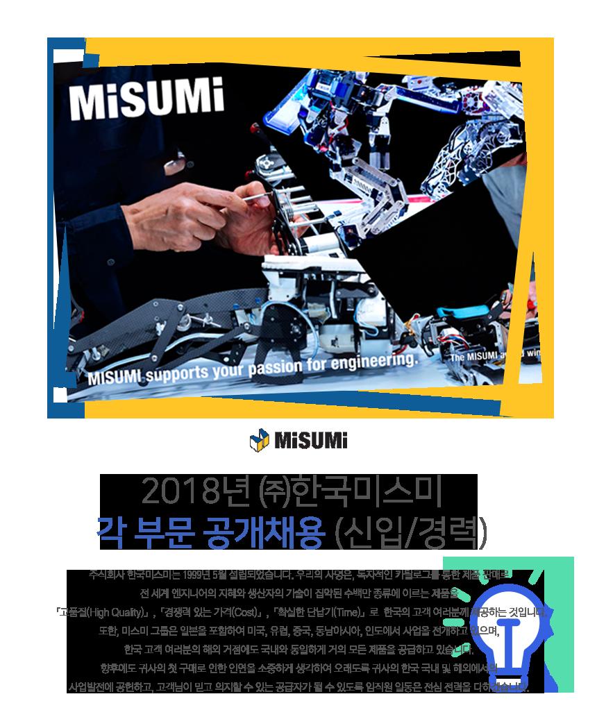 2018년 ㈜한국미스미 각 부문 공개채용(신입/경력)