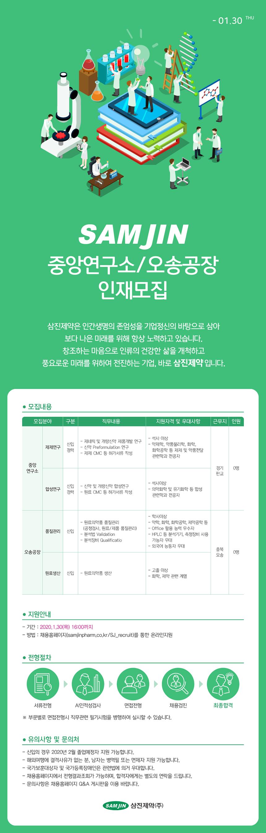 중앙연구소/오송공장 인재모집