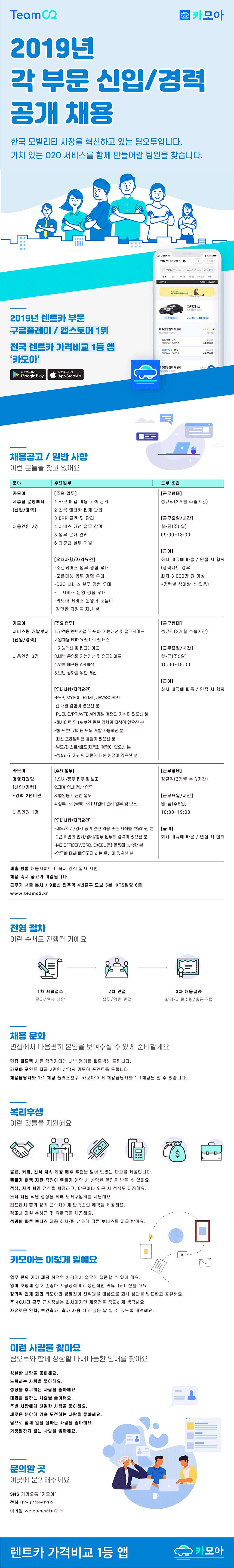 2019년 각 부문 신입/경력 채용 - 영업관리,CS/개발/경영지원