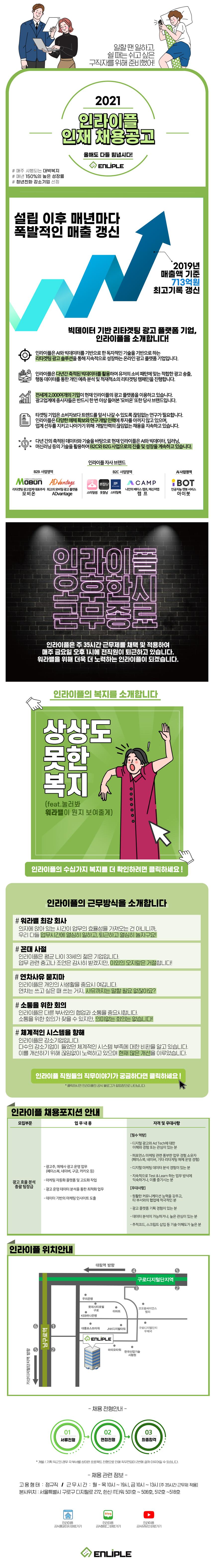 [업계1위/최강복지] 광고 운영 및 영업 지원 신입사원 채용